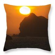 Crescent City Beach Sunset California Throw Pillow