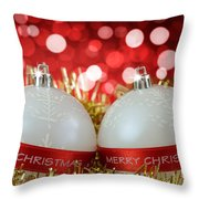 White Christmas Baubles With Merry Christmas Sign  Throw Pillow
