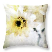 White Flower Throw Pillow by Linda Woods