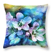 Wildflowers 5  -  Polemonium Reptans - Digital Paint 4 Throw Pillow