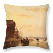 Winter Landscape With A Fort Throw Pillow