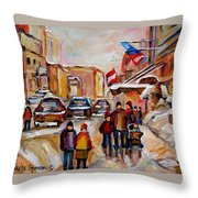 Winter Walk In Montreal Throw Pillow