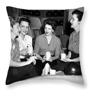Woman Female Drinking Coffee Bowling Alley Circa Throw Pillow