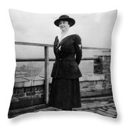 Woman Female In Naval Military Uniform 1918 Throw Pillow