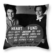 Women Females Heart Fund Sign 19591960 Black Throw Pillow
