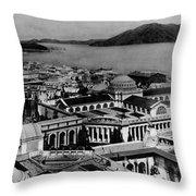 Worlds Fair San Francisco 1915 Black White 1910s Throw Pillow