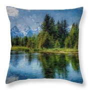 Wyoming Tetons Spruce Mountain Lake. Oil Painting . Throw Pillow