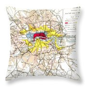 Map Of London, 1881 Throw Pillow