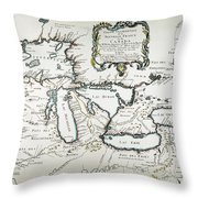 Great Lakes Map, 1755 Throw Pillow
