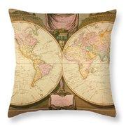 Captain Cook: Map, 1808 Throw Pillow