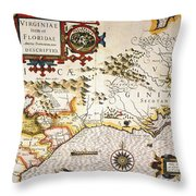 Map: Colonial America, Throw Pillow