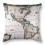New World Map, 1616 Throw Pillow