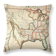 Map: United States, 1820 Throw Pillow