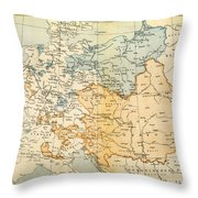 Austrian Empire Map, 1795 Throw Pillow