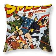 World War II: Comic Book Throw Pillow