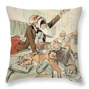 Senate Cartoon,free Silver Throw Pillow by Granger