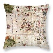 Nina: World Map, 1500 Throw Pillow