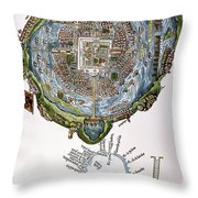 Tenochtitlan (mexico City) Throw Pillow