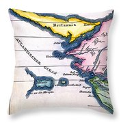 Atlantis: Map, 1831 Throw Pillow