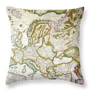 Map Of Europe, 1623 Throw Pillow