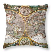 World Map, 1607 Throw Pillow