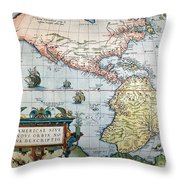 New World Map, 1570 Throw Pillow