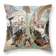 Business Cartoon, 1904 Throw Pillow