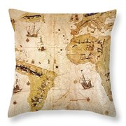Vespucci's World Map, 1526 Throw Pillow