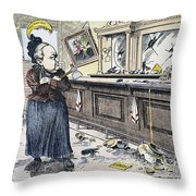 Carry Nation Cartoon, 1901 Throw Pillow