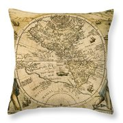 W. Hemisphere Map, 1596 Throw Pillow