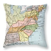 United States Map, C1791 Throw Pillow