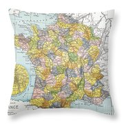 Map Of France, C1900 Throw Pillow