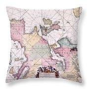 Map: European Coasts, 1715 Throw Pillow