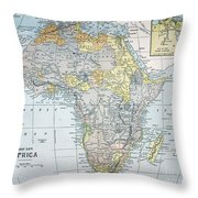 Map: Africa, 19th Century Throw Pillow