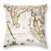 South Asia Map, 1662 Throw Pillow