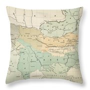 Balkan Map, 1885 Throw Pillow