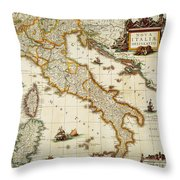Map Of Italy, 1631 Throw Pillow