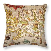 Iceland: Map, 1595 Throw Pillow