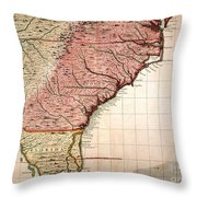 Colonial America Map, 1733 Throw Pillow