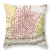 Cincinnati, Ohio, 1837 Throw Pillow