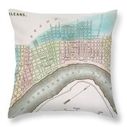 New Orleans Map, 1837 Throw Pillow