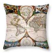 World Map, 17th Century Throw Pillow