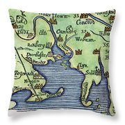 New England Map 1677 Throw Pillow