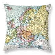 Map: Europe, 1885 Throw Pillow