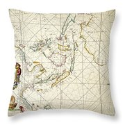 Map: East Indies, 1670 Throw Pillow