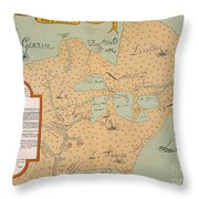 Jolliet: North America 1674 Throw Pillow