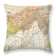 Map: Eastern Canada Throw Pillow