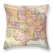 Map: United States, 1905 Throw Pillow