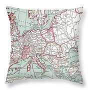 Map Of Europe, 12th Century Throw Pillow