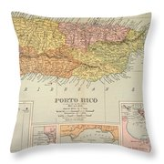 Map: Puerto Rico, 1900 Throw Pillow